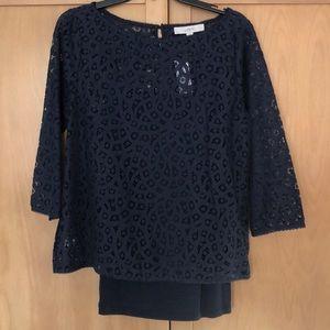 Loft dark navy blouse